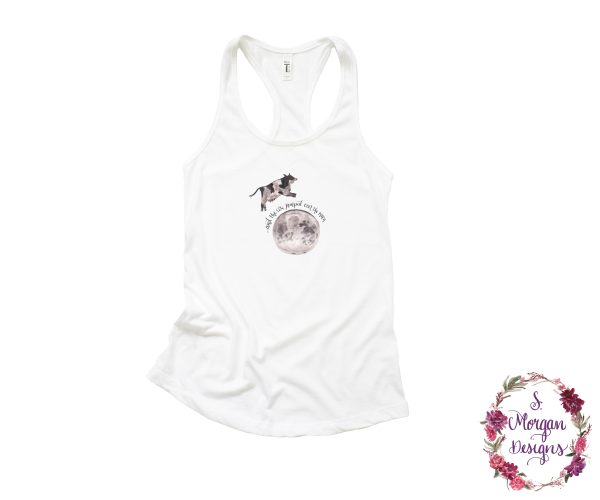 And The Cow Jumped Over The Moon - Nursery Rhyme Racerback Tank Top