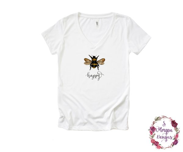 Bee Happy - Watercolor Bumblebee V-Neck T-Shirt