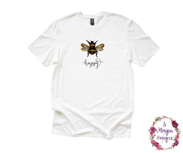 Bee Happy - Watercolor Bumblebee Anvil Unisex T-Shirt