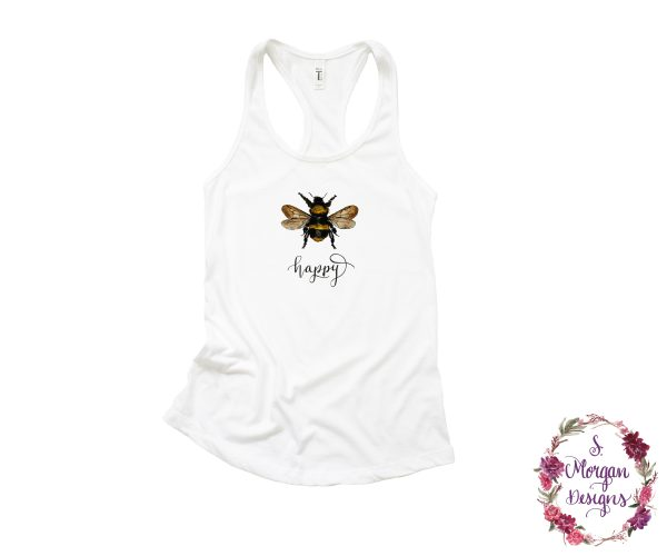 Bee Happy - Watercolor Bumblebee Racerback Tank Top