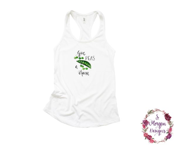Give Peas a Chance - Watercolor Snap Peas Racerback Tank Top