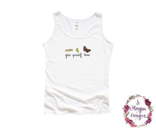 Give Yourself Time - Watercolor Caterpillar - Cocoon - Monarch Butterfly Art Tank Top