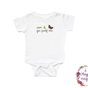 Give Yourself Time - Watercolor Caterpillar - Cocoon - Monarch Butterfly Art Infant Romper