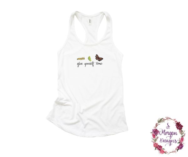 Give Yourself Time - Watercolor Caterpillar - Cocoon - Monarch Butterfly Art Racerback Tank Top