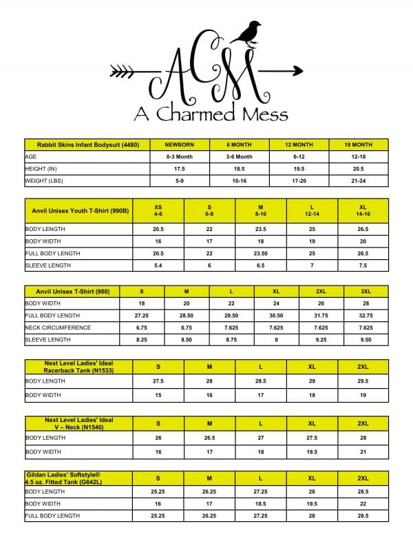 A Charmed Mess Size Chart