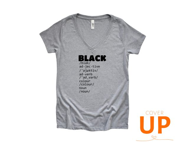 BLACK - Dictionary Meaning - Adjective - Adverb - Colour - Noun - Grey V-Neck T-Shirt