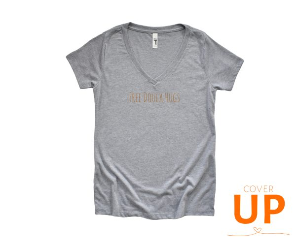 Free Doula Hugs - Grey V-Neck T-Shirt