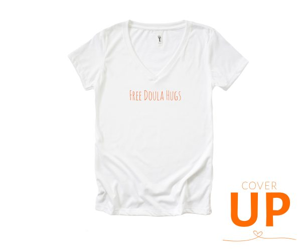 Free Doula Hugs - White V-Neck T-Shirt